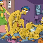 Milhouse, Bart y Lisa en un trio de los Simpsons